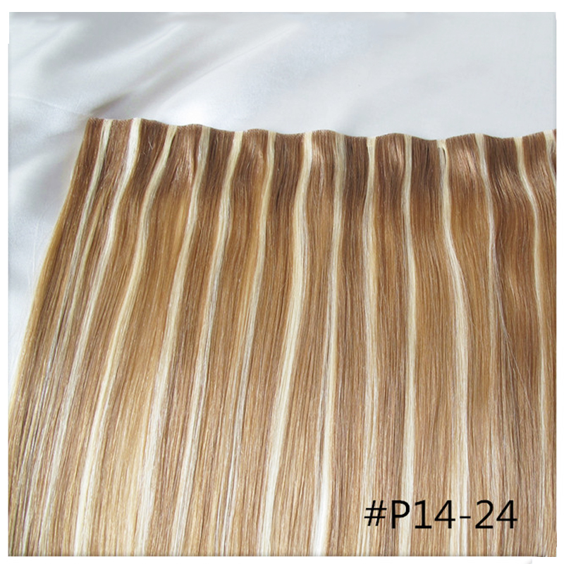 True Skin Weft PU Russian Cuticle Remy Human Hair Extensions Black Brown Blonde Hand Tied Straight Un Tape Maded Weave In