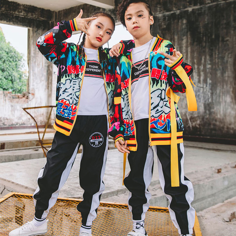 Unisex Autumn Jazz Dance Costumes For Kids Children'S Street Hip Hop Dance Suit Performance Wear Club Costume De Danse DWY937