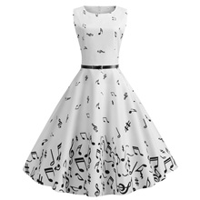 Women summer music notes printing dress Audrey Hepburn robe large swing high waist retro vintage dresses with sash belt vestidos