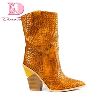 Doratasia 2019 brand Ins hot style plus size 33 46 chunky heeled women Shoes Retro mid calf boots woman shoes western boots
