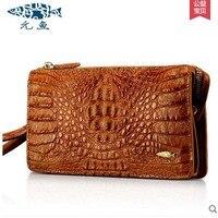 Yuanyu Crocodile Grain Women Clutches Real Crocodile Leather Leisure Zipper Bag Long General Wallet Men Women