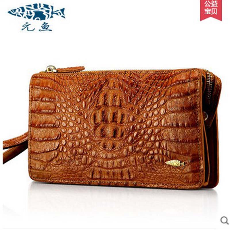 yuanyu Crocodile grain women clutches real Crocodile leather leisure zipper font b bag b font long