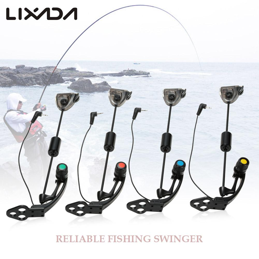Lixada 4pc Fishing Swinger Fishing Alarm Fish Alerts Bait Alarms Indicator Set LED Hanger Sensor Illuminated Carp Fishing Tackle-in Fishing Tackle Boxes from Sports & Entertainment    2