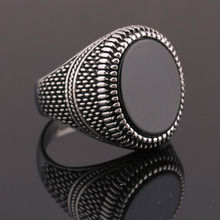 Black Glass Men Wedding Rings for Engagement Party Jewelry Stainless Steel