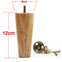 H 12CM Diameter 4 6 5cm 4pcs Lot Oak Varnish Environmental Protection Solid Wood Legs Feet