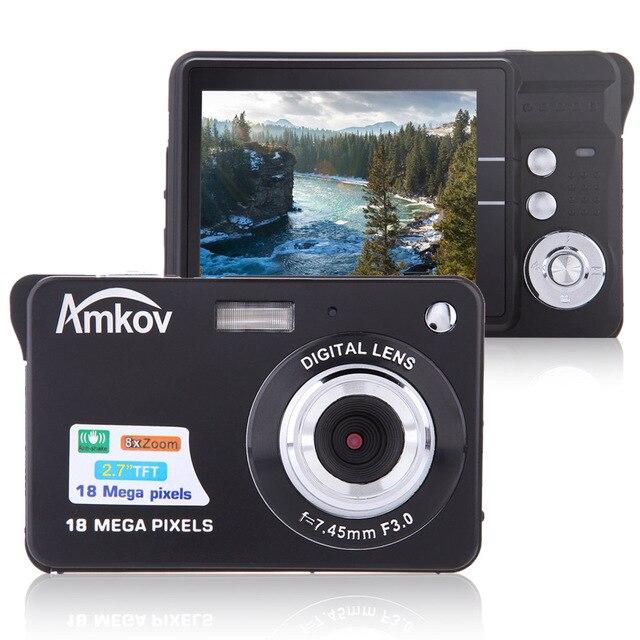 "Amkov CDC32 2.7"" TFT HD Mini Digital Camera 18MP 8x Zoom Video Camera Smile Capture Mini Camera Anti shake Digital Camcorder"