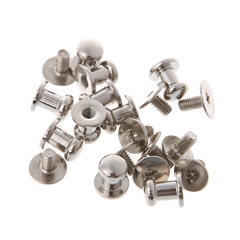 In 10pcs 4/5/6/7/8/10mm Bag Metal Stud Round Head Suitcase Belt Screw Nail River Accessory Copper New Button Locks Fashionable Style;