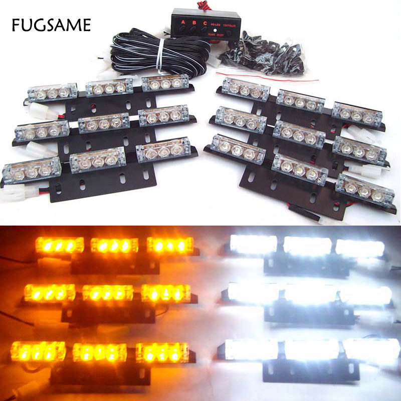 FUGSAME 54 LEDs Car Truck Boat Flash Strobe Warning Emergency   Light Retail & Wholesale  red blue amber white 4 led 12 24v car strobe flash light white red amber light vehicle truck rear side light car emergency warning lamp drop shipping