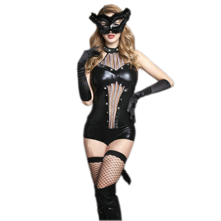 free shipping high quality womens sexy black catwoman outfit halloween costume women sexy halloween catwomen costumes - High Quality Womens Halloween Costumes
