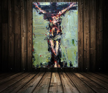 Jesus Died May Abstract Being Crucified Jesus Above the Pure Hand-painted Knife Oil Paintings on Canvas Wall Art Hang Paintings