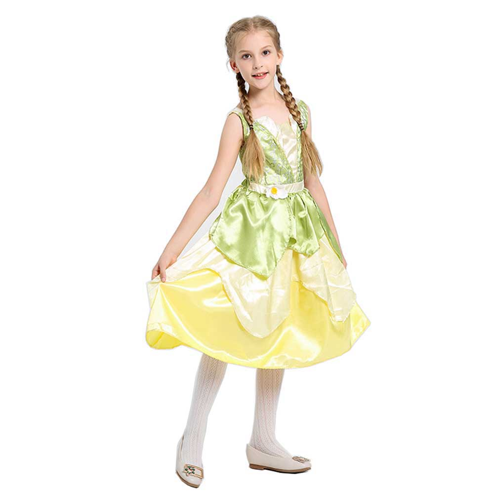 Child Princess Tiana Costume Deluxe Princess And The Frog Halloween Fancy Dress Kids Girls Frog Princess Dress Up Costme Girls Costumes Aliexpress