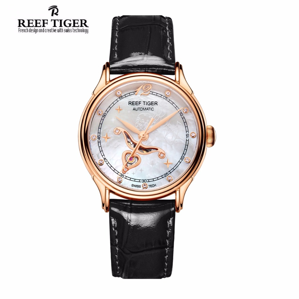 цена на Reef Tiger/RT Designer Fashion Womens Watch with White MOP Dial Diamonds Automatic Watches with Calfskin Leather RGA1550