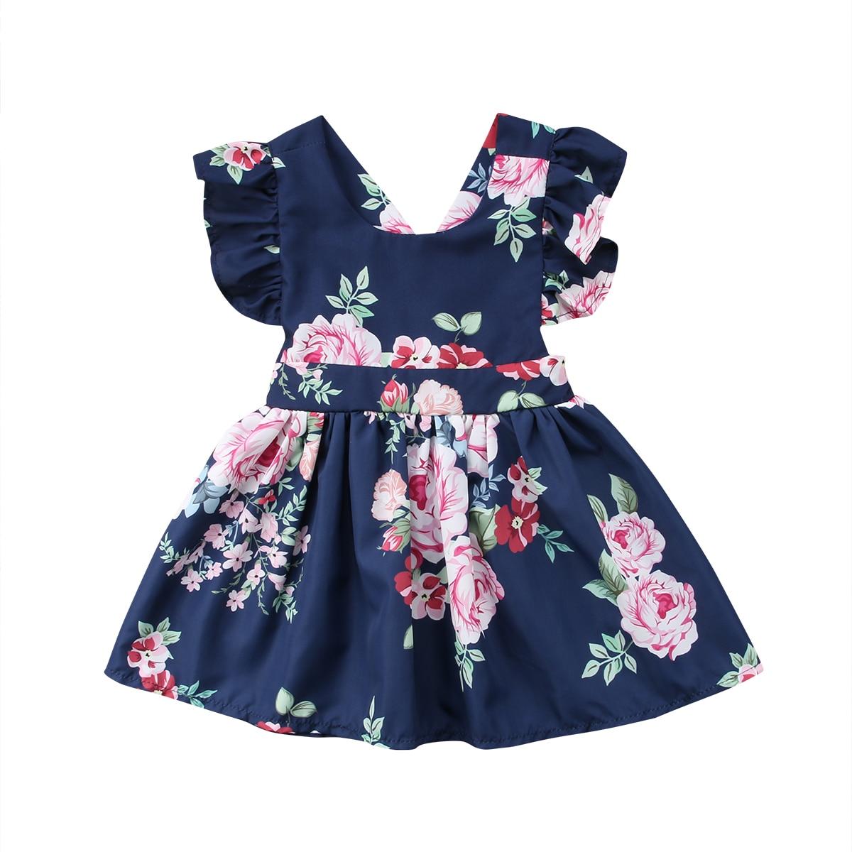 USA Toddler Kids Baby Girls Flower Summer Party Backless Dress Sundress Clothes