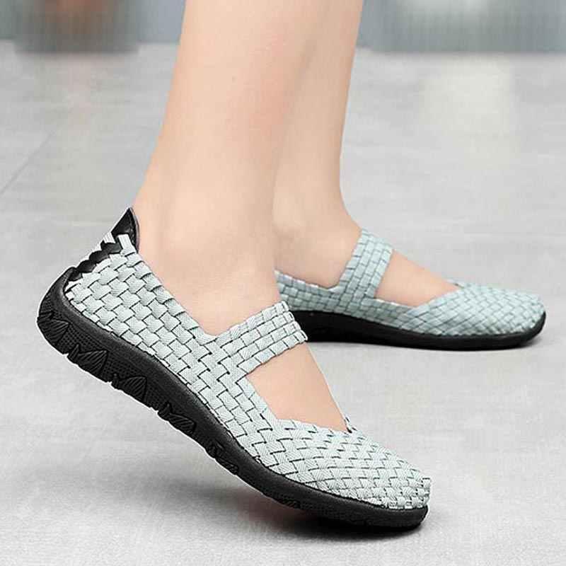 المنسوجة تنفس احذية الجري امرأة الصيف أحذية رياضية خفيفة الوزن الإناث رياضة الانزلاق على أحذية رياضية الرياضية الأزرق رياضة B-337