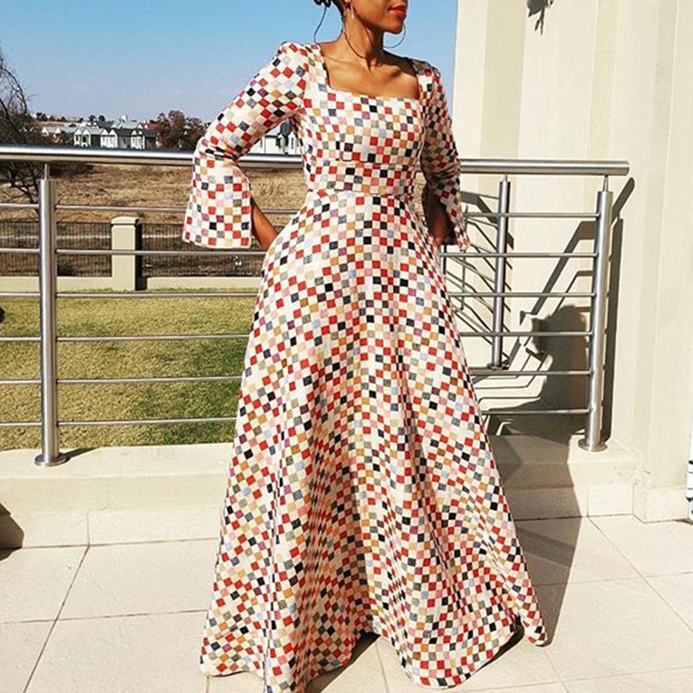 fde911a27b46b Clocolor Long Dress Fashion Print Plus Size XXL African Dresses fo...