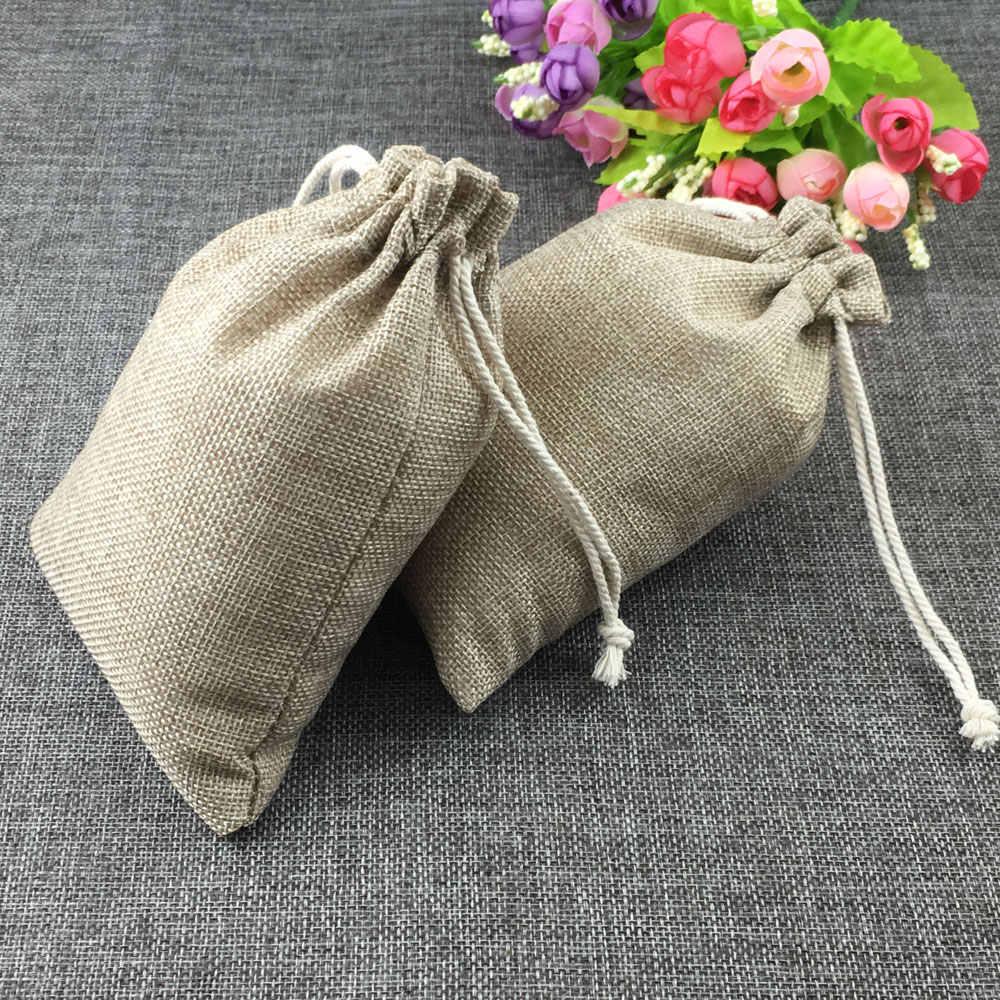 20 шт. модные натуральные подарки Джутовая сумка из хлопка с нитью на шнурке сумки стенд для ювелирных украшений для свадьбы/вечерние/пакет на день рождения