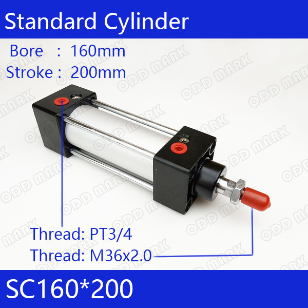 SC160*200 160mm Bore 200mm Stroke SC160X200 SC Series Single Rod Standard Pneumatic Air Cylinder SC160-200 si series iso6431standard cylinder si160 200 port 3 4 bore 160mm adjustable cylinder