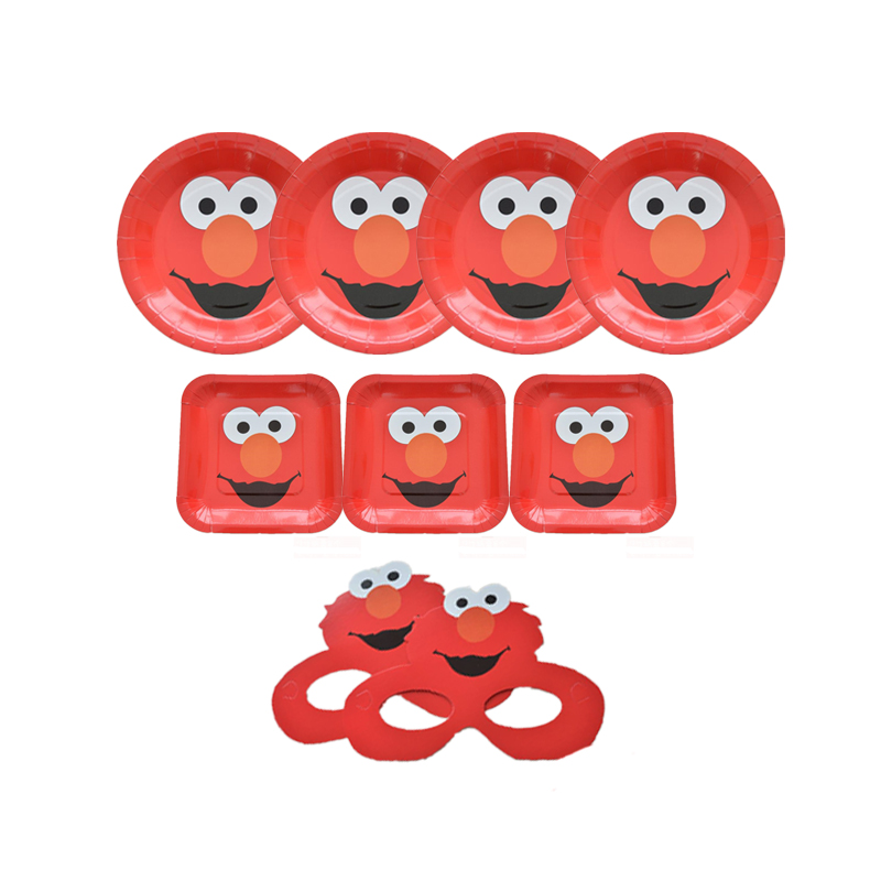 Omilut Elmo Seasame Street Party Decoration Elmo Disposable Plates/Tablecloths/Cups Elmo Birthday Party Kid Supplies