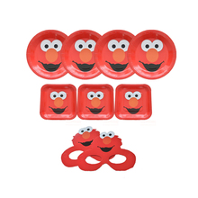 Omilut Elmo Seasame Street Party Decoration Disposable Plates/Tablecloths/Cups Birthday Kid Supplies