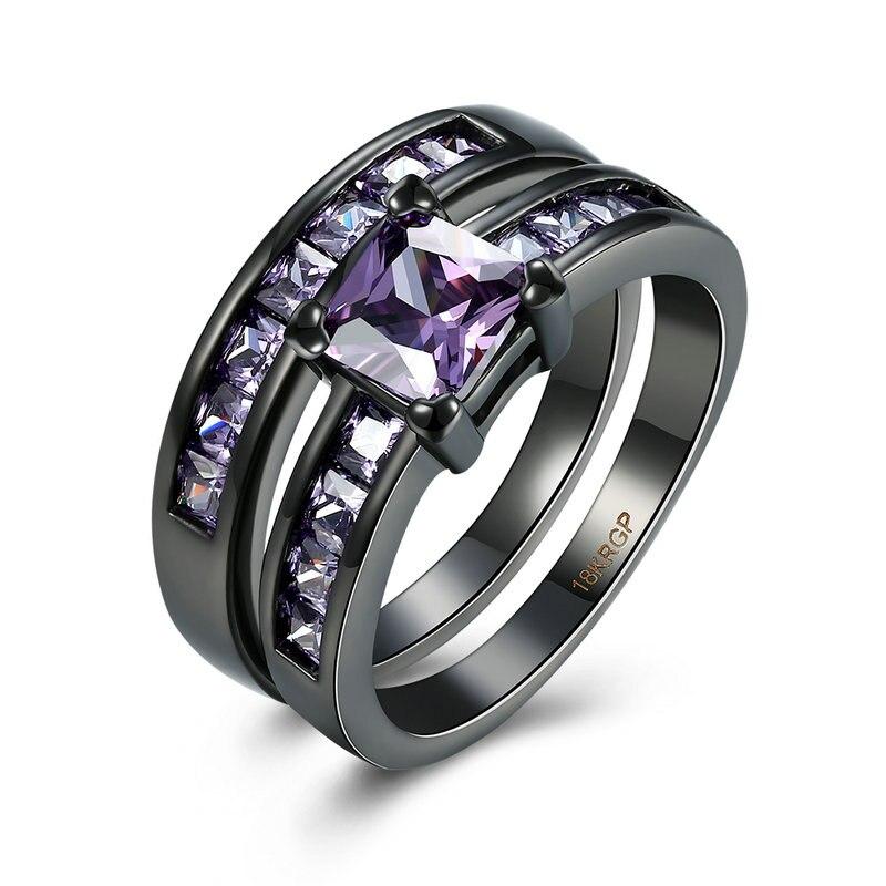 Jenia Love Design Black Gun Plated Purple Cubic Zirconia Charming Couple Rings Jewelry PR966