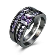 Jenia Amor Diseño Arma Negro Plateado Zirconia Cúbico Púrpura Encantadora Pareja Anillos Joyería PR966