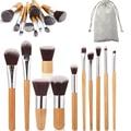 11 unids Fundación maquillaje Bambú Pinceles de Maquillaje Profesional Cepillo Cosméticos Set Herramientas del Kit de Sombra de Ojos Blush Brush A2