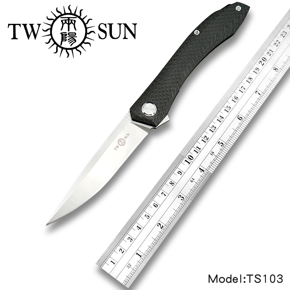 TwoSun D2 Blade Folding Pocket Knife Camping Tactical Hunting Knife Survival Tool EDC Titanium Carbon Fiber Fast Open TS103