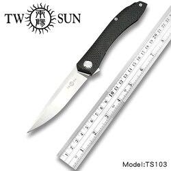 TwoSun d2 klinge folding Tasche Messer Camping taktische jagd messer überleben werkzeug EDC Titan Carbon Faser Schnelle Öffnen TS103