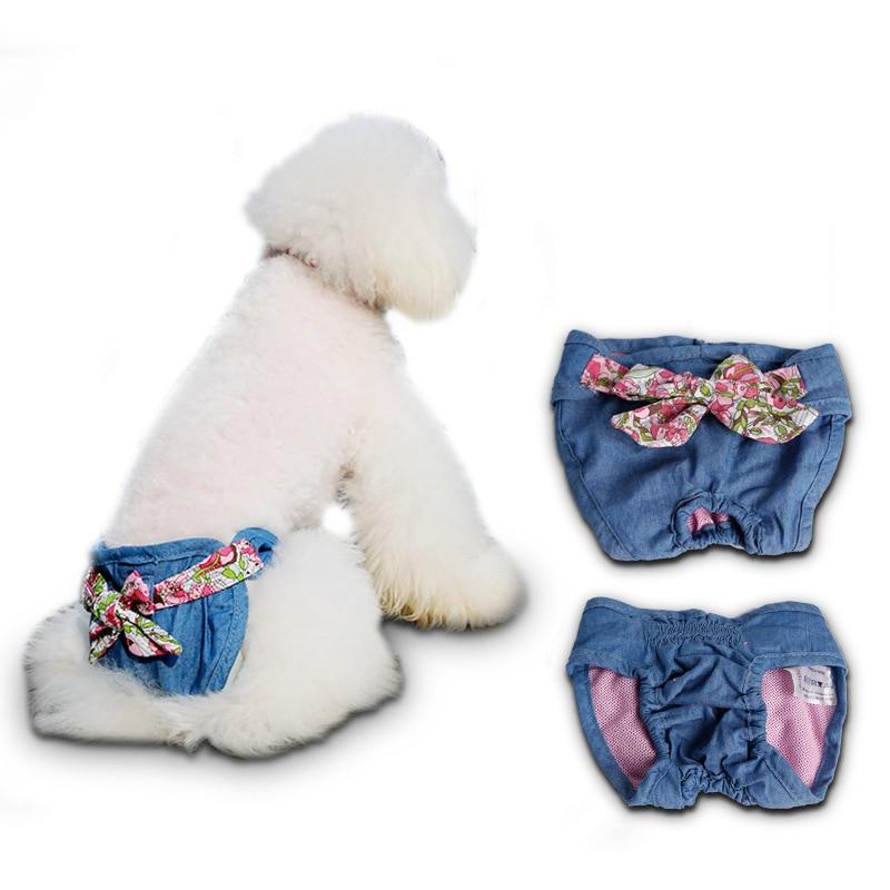 애완 동물 패션 데님 바지 테디 생리학 월경 바지 바지 강아지 개 생리대 안전 속옷 S M L