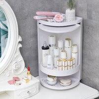 Double layer Rotating Triangle Bathroom Storage Rack Corner Shower Organizer For Cosmetics Paper Towel Kitchen Sponge Holder