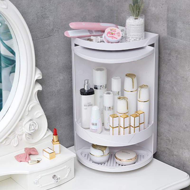 Bathroom:  Double layer Rotating Triangle Bathroom Storage Rack Corner Shower Organizer For Cosmetics Paper Towel Kitchen Sponge Holder - Martin's & Co