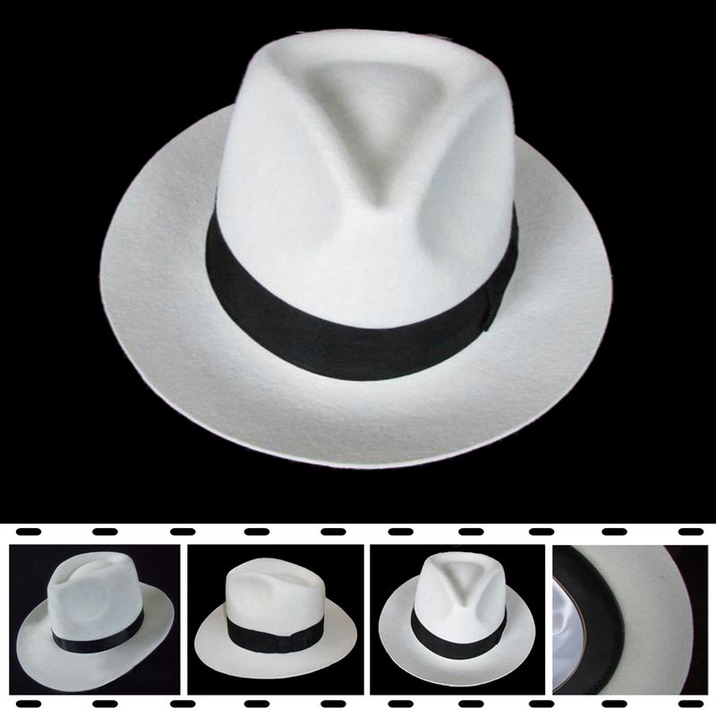 a5c2dbc736e2f Michael Jackson Boy Cosplay Hats MJ Cos Child Children Accessories  Dangerous Smooth Criminal Woolen Hat White Black Colors-in Boys Costume  Accessories from ...
