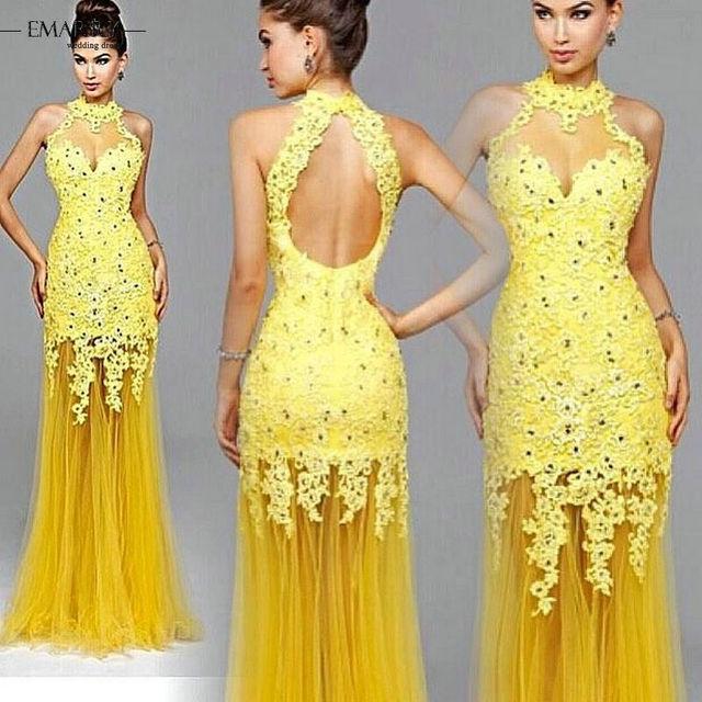 Vestidos de noche de color amarillo