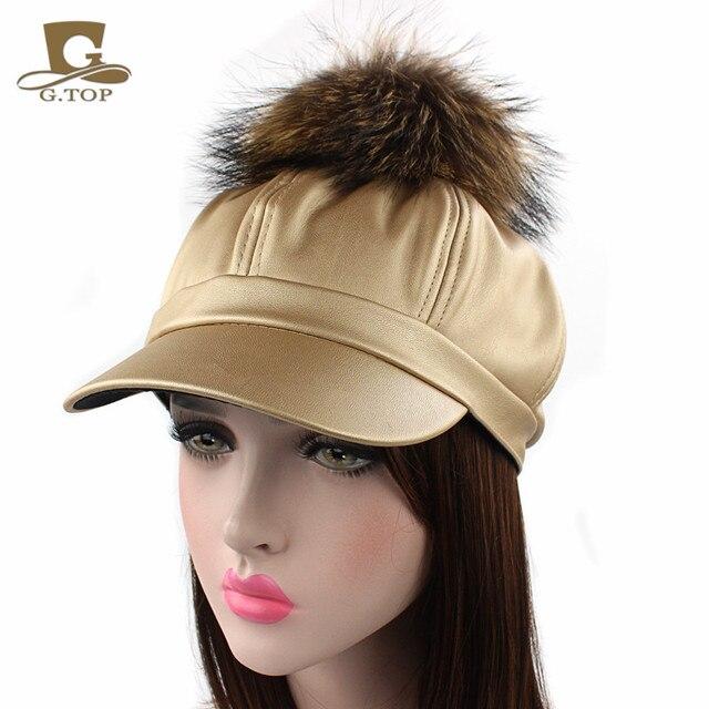 dbdc32be75e Women PU Leather Ascot Ivy Newsboy Berets Trucker Visor Peaked Cap Artist  Hat with king size Raccoon Fur Ball pom