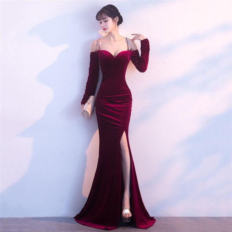 Wine Red Velvet Diamond Strap V Neck Long Sleeve High Split Mermaid Sexy Cocktail Club Dress Party Dresses Robe Femme Ete 2018