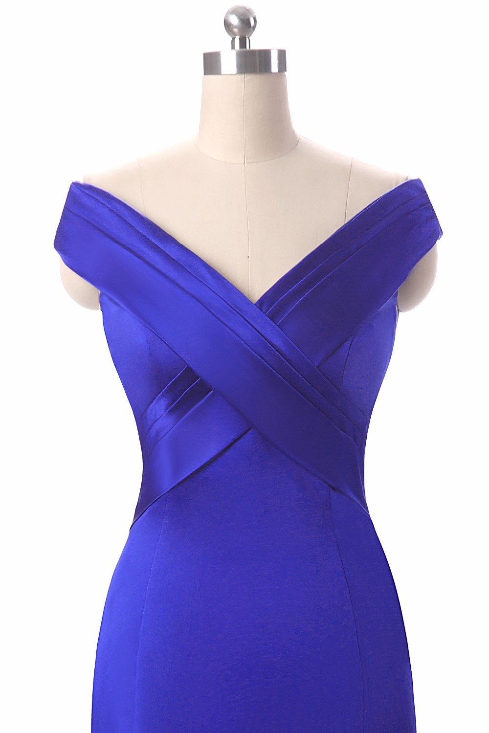Royal Blue V-Neck Floor Length Mermaid Long Evening Dress 5