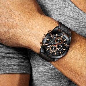 Image 5 - MEGALITH mode militaire montre Sport hommes montres étanche chronographe horloge hommes bracelet en cuir Quartz montres hommes 8004