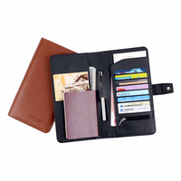 Black Brown Leather Passport Holder PU Leather Passport Cover Travel Accessories ID Card Holder Wholesale And