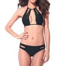 High Quality Elasticity Strap-On Pure Black Sexy Bikini 2019 Push Up Two-Piece Maillot De Bain Femme Swimwear Women AA255