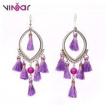 ФОТО vinsar vintage tassel purple crystal earrings chandelier dangling geometric earrings for women uneven aretes pompom earring fg08