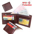 Cowhide! Man Wallets Vertical/ Horizontal RFID Protection Credit Card Holder Genuine Leather Purse Free shipping