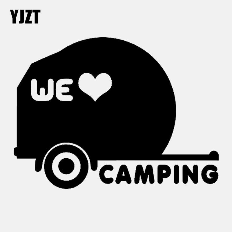 YJZT 14.2CM*10.3CM Fashion We Love Camping Vinyl Decal Car Sticker Black Silver C11-2039