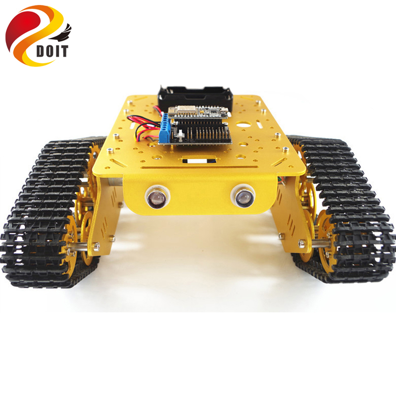 DOIT WiFi RC Metal Robot Tank Chassis T300 from NodeMCU Development Kit with L293D Motor Shield DIY RC Tank Toy by App Phone doit v3 new nodemcu based on esp 12f esp 12f from esp8266 serial wifi wireless module development board diy rc toy lua rc toy