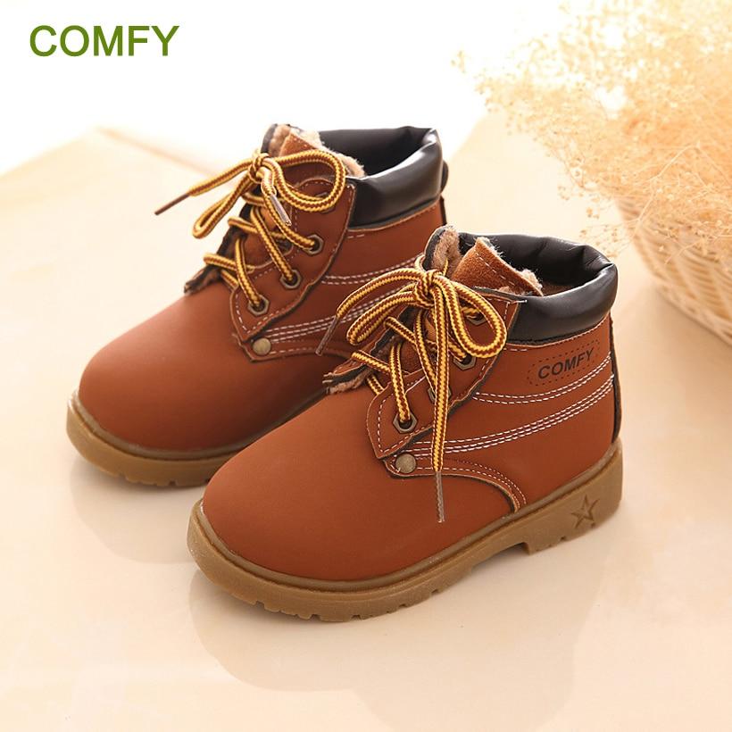NIEUW 2016 Lente Kinderen Martin laarzen Kinderen Casual schoenen PU leer Kinderen enkellaars Mode Winter baby meisjes jongens schoenen