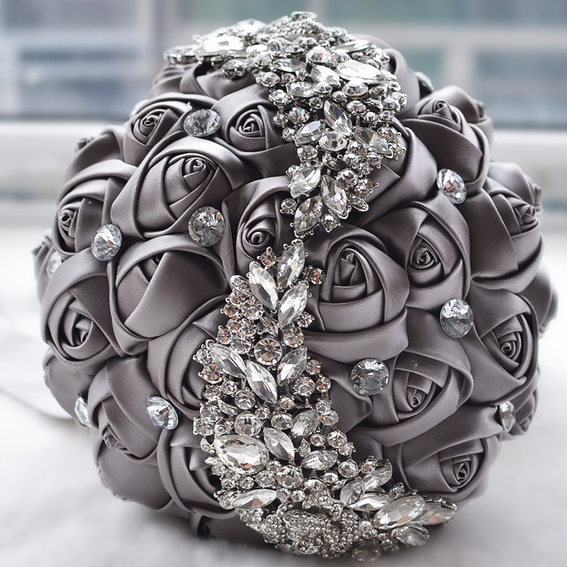 Doragrace Bridal Bouquet Roses Flowers Crystal Pearl Wedding Bouquet Bridesmaid Wedding Bouquet in Wedding Bouquets from Weddings Events