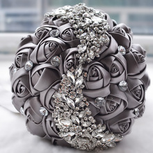 Doragrace Handmade Diamond Rhinestone Brooch Bridal Hold Grey Flowers Wedding Bouquet