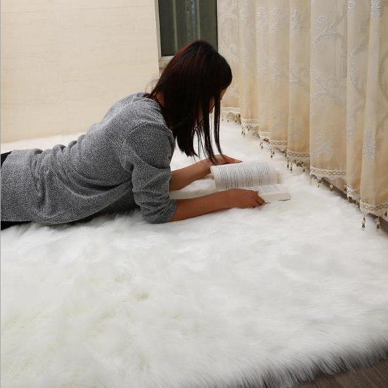 Warm wool Carpet Soft faux Sheepskin Chair Cover Seat Pad Plain Skin Fur Plain Fluffy Area Rugs Washable Bedroom Faux Mat tapis