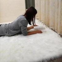 Warm wool Carpet Soft faux Sheepskin Chair Cover Seat Pad Plain Skin Fur Plain Fluffy Area Rugs Washable Bedroom Faux Mat tapis