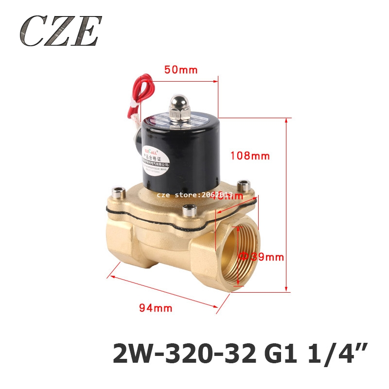 2W-320-32 G1 1/4 AC220V DC12V DC24V Copper Water Electromagnetic Valve Solenoid Valves Normal Close метчики 1 4 32