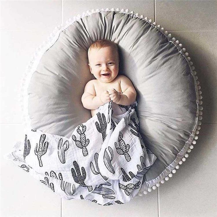 Enfants bébé jeu tapis solide couleur Hairball bord jouer ramper tapis rond panier tapis climatisé tente lit cantonnière décoration